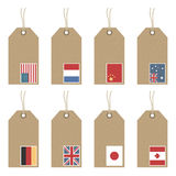 Tags with flags Stock Images
