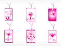 Tags with floral elements and heart Stock Photo
