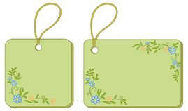 Tags with floral pattern Stock Images
