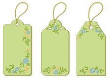 Tags with floral pattern Stock Photography