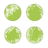 Tags with flowers. Green tags or labels  with flowers Royalty Free Stock Photos