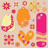 Tags, flowers and hearts collection Royalty Free Stock Image