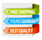 Tags for free shipping, guarantee and quality Stock Photography