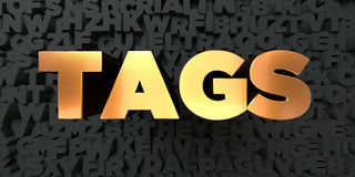 Tags - Gold text on black background - 3D rendered royalty free stock picture Royalty Free Stock Photos