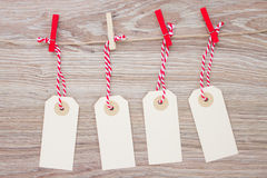 Tags hanging on rope Royalty Free Stock Photos