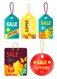 Tags Hanging with Text Sale Discount Buy Now Price. Tags hanging with text sale, discount buy now hot price promo posters with percent signs, advertisement Royalty Free Stock Photo
