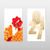 Tags with hen. Chinese New Year, rooster year tags bilateral. Vector illustration with big hen in red, gold feathers and ornamental figures of the year on a Stock Photos