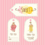 Tags with ice cream illustration. Vector hand drawn labels set with watercolor splashes. Stock Photos