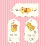 Tags with ice cream illustration. Vector hand drawn labels set with watercolor splashes. Stock Photography