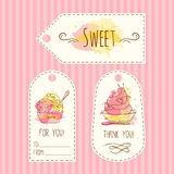 Tags with ice cream illustration. Vector hand drawn labels set with watercolor splashes. Royalty Free Stock Photos