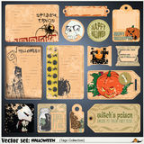 Tags, label and sticker on a theme of Halloween Stock Image