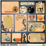 Tags, label and sticker on a theme of Halloween Stock Photography