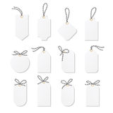 Tags and labels with bakers twine bows ribbons Stock Photo