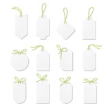 Tags and labels with bakers twine bows ribbons Royalty Free Stock Images
