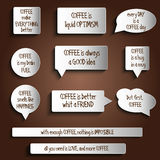 Tags, labels, buttons, stickers with message about coffee Stock Photos