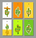 Tags, labels, cactus, colored. Stock Image