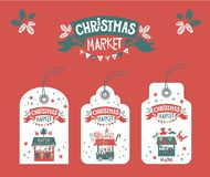 Tags, labels for Christmas market stock illustration