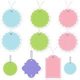 Tags & Labels Cute Polka Dots. Set of cute tags and labels in pastel colors and polka dots Stock Photos