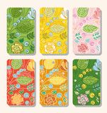 Tags, labels, flowers, berries, plants, green, yellow, red, pink, orange. Royalty Free Stock Image