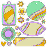 Tags, labels, flowers and hearts Royalty Free Stock Photos