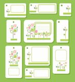 Tags, labels, green, pink leaves on white background, ecology, nature. Royalty Free Stock Photo