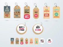 Tags or labels for Mega Sale with discount offer. Royalty Free Stock Image