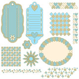 Tags, labels, pattern and flowers. Over white background Royalty Free Stock Photos
