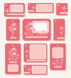 Tags, labels, pink leaves on pink-red background, ecology, nature. Royalty Free Stock Photography