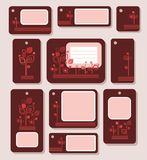 Tags, labels, and red leaves on a Burgundy background, ecology, nature. Stock Images