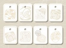 Tags, labels, sea shell, sea, colored contour. Royalty Free Stock Photos