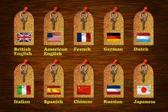 Tags of Languages Stock Photography