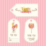 Tags with lollipop illustration. Vector hand drawn labels set with watercolor splashes. Sweet candies design. Royalty Free Stock Image