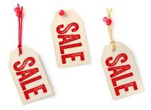 Tags mit dem Text Verkauf Lizenzfreie Stockfotos