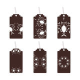 Tags with ornament brown. Set of six labels with ornament Royalty Free Stock Photos
