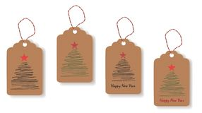 Tags with painted Christmas trees