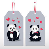 Tags Panda cartoon. Valentine's Day tags with loves pandas and hearts Royalty Free Stock Photos