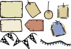 Tags, Paper and Labels. Set of 9 isolated advertising and scrap-booking designs Royalty Free Stock Photo