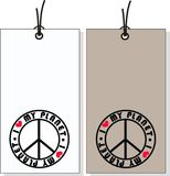 Tags with peace symbol Royalty Free Stock Photography
