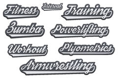Tags of popular gym sports Royalty Free Stock Image