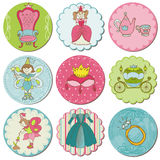 Tags with Princess Elements Royalty Free Stock Images