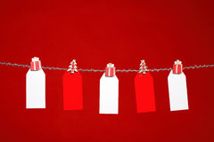 Tags on red background Royalty Free Stock Photo