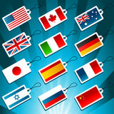 Tags Representing World Flags Stock Photography
