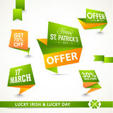 Tags, ribbon and label for Happy St. Patricks Day. Royalty Free Stock Photo