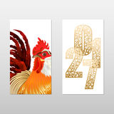 Tags with rooster. Chinese New Year, rooster year tags bilateral. Vector illustration with big cock in red, gold feathers and ornamental figures of the year on a Royalty Free Stock Photos