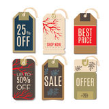 Tags with the sale of Christmas. Set price tags for the prices down. End of year sale savings labels Stock Photos