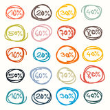 Tags - Sale Labels. Colorful Vector Hand Drawn Price Tags - Sale Labels Stock Image