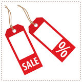 Tags - Sales. Red tag sales and discounts Stock Photos