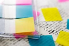 Tags and stickers are useful tools. The tags and stickers are useful tools to remind something Royalty Free Stock Photo