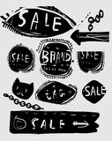 Tags. Symbolic image of silhouettes of labels that are located on a gray background Royalty Free Stock Photography