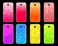Tags template. Colorful template of tags with flowers design Royalty Free Stock Photos